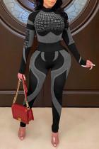 Black Casual Sportswear Print Split Joint Half A Turtleneck Long Sleeve Two Pieces