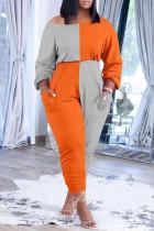 Orange Gray Casual Solid Split Joint Pocket Oblique Collar Plus Size Jumpsuits