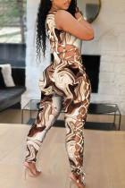 Light Khaki Fashion Sexy Print Bandage Hollowed Out U Neck Skinny Jumpsuits