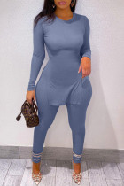 Blue Fashion Casual Solid Slit O Neck Long Sleeve Two Pieces
