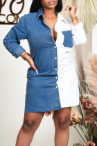 White Casual Solid Split Joint Buckle Turndown Collar Shirt Dress Dresses