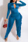 Peacock Blue Fashion Casual Solid Tassel Hollowed Out O Neck Regular Jumpsuits