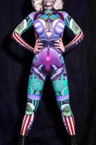 Green Fashion Casual Print Basic Turtleneck Skinny Jumpsuits