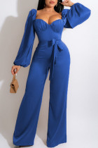 Blue Casual Sweet Solid Split Joint Square Collar Straight Jumpsuits