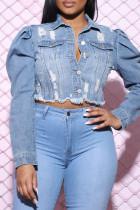 Light Blue Fashion Casual Solid Ripped Cardigan Turndown Collar Long Sleeve Regular Denim Jacket