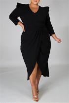 Black Fashion Casual Solid Split Joint V Neck Long Sleeve Plus Size Dresses