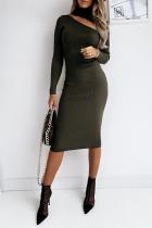 Ink Green Fashion Elegant Solid Hollowed Out Split Joint Half A Turtleneck Pencil Skirt Dresses