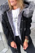 Black Street Ripped Make Old Split Joint Buckle Hooded Collar Long Sleeve Straight Denim Jacket