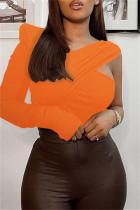 Orange Fashion Casual Solid Split Joint Asymmetrical V Neck Tops