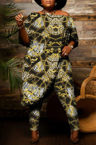 Yellow Fashion Casual Print Asymmetrical Off the Shoulder Plus Size Two Pieces