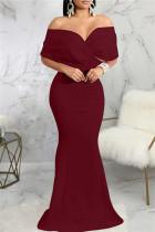Burgundy Fashion Sexy Solid Backless V Neck Evening Dress