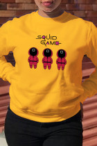 Yellow Street Party Print Split Joint O Neck Tops (squid game)