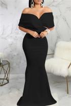 Black Fashion Sexy Solid Backless V Neck Evening Dress