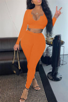 Orange Fashion Casual Solid Basic V Neck Long Sleeve Two Pieces