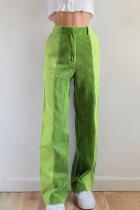 Green Casual Street Patchwork  Contrast High Waist Patchwork Bottoms