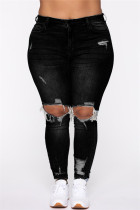 Black Fashion Casual Solid Ripped Plus Size Jeans