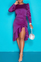 Purple Fashion Casual Solid Draw String Backless O Neck Long Sleeve Dresses