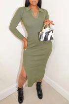 Ink Green Sexy Split Joint Turndown Collar Irregular Dress Dresses