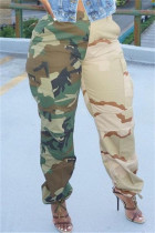 Green Fashion Casual Camouflage Print Split Joint Regular High Waist Trousers