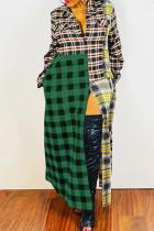 Green Casual Street Plaid Print Split Joint Buckle Turndown Collar Shirt Dress Dresses