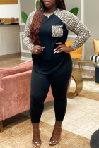 Black Fashion Casual Plus Size Print Leopard Split Joint O Neck Long Sleeve Two Pieces
