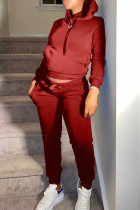 Red Fashion Casual Solid Basic Hooded Collar Long Sleeve Two Pieces