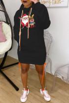 Black Fashion Print Santa Claus Bandage Pocket Hooded Collar One Step Skirt Dresses