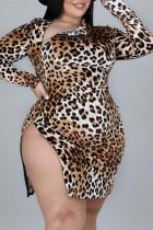 Leopard Print Sexy Split Joint Zipper Zipper Collar Plus Size Dresses