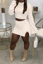 White Casual Solid Split Joint Slit Half A Turtleneck Long Sleeve Two Pieces