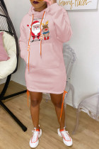 Pink Fashion Print Santa Claus Bandage Pocket Hooded Collar One Step Skirt Dresses