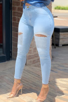 Light Blue Fashion Casual Solid Tassel Ripped Split Joint High Waist Skinny Denim Jeans