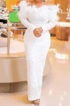 White Elegant Solid Split Joint Feathers Beading Off the Shoulder Evening Dress Dresses