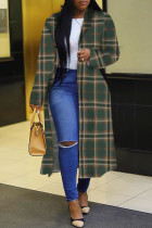 Green Fashion Casual Plaid Print Cardigan Turndown Collar Plus Size Overcoat