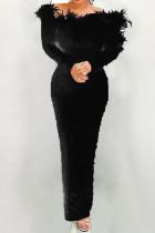Black Elegant Solid Split Joint Feathers Beading Off the Shoulder Evening Dress Dresses