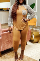 Yellow Fashion Casual Plus Size Print Leopard Split Joint O Neck Long Sleeve Two Pieces