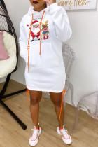 White Fashion Print Santa Claus Bandage Pocket Hooded Collar One Step Skirt Dresses