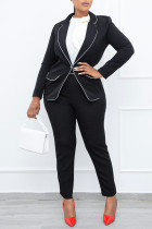 Black Casual Work Solid Split Joint Buttons Turn-back Collar Long Sleeve Two Pieces