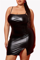 Black Sexy Casual Plus Size Solid Backless Slit Spaghetti Strap Sleeveless Dress