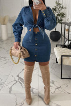 Peacock Blue Casual Solid Bandage Split Joint Buttons Turndown Collar Long Sleeve Two Pieces