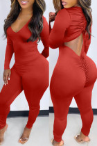 Red Fashion Casual Solid Backless V Neck Skinny Jumpsuits