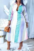 Blue Casual Striped Print Split Joint Buckle Turndown Collar Plus Size Dresses