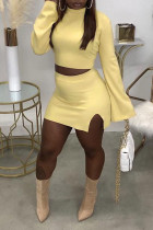 Light Yellow Casual Solid Split Joint Slit Half A Turtleneck Long Sleeve Two Pieces