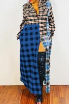 Deep Blue Casual Street Plaid Print Split Joint Buckle Turndown Collar Shirt Dress Dresses
