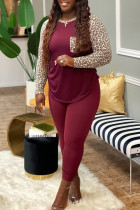 Rose Red Fashion Casual Plus Size Print Leopard Split Joint O Neck Long Sleeve Two Pieces