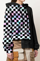 Black Casual Street Plaid Geometric Print Split Joint Hooded Collar Tops