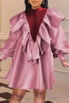 Pink Sweet Solid Split Joint Flounce Fold Half A Turtleneck A Line Dresses