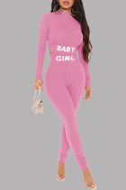 Pink Casual Sportswear Letter Print Basic Half A Turtleneck Long Sleeve Two Pieces
