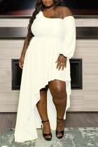 White Elegant Solid Split Joint Asymmetrical Oblique Collar Plus Size Dresses