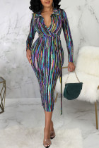 Multicolor Sexy Striped Print Split Joint With Belt Turndown Collar One Step Skirt Dresses