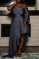 Black Elegant Solid Split Joint Asymmetrical Oblique Collar Plus Size Dresses